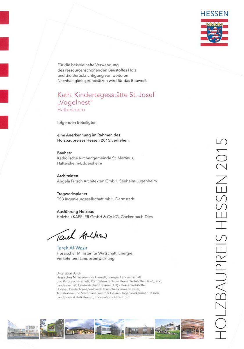 Urkunde-Holzbaupreis-Hessen-2015-Kita-Vogelnest